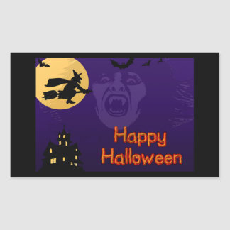 Witch, Vampire and Haunted House Rectangular Sticker