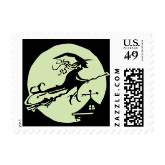 Witch Vane Moon Postage Stamp