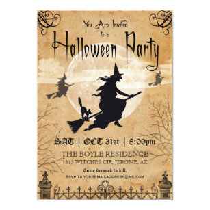 Witch Vintage Halloween Party Invitation