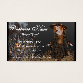 Witch Walking at Night Fantasy Business Cards