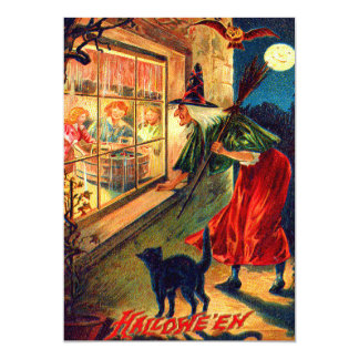 Witch Watching Children Owl Black Cat Card