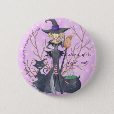Halloween Themed Witch watercolor Halloween bachelorette party Button