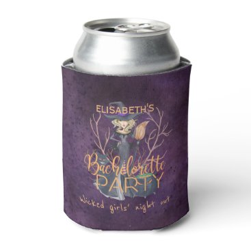 Halloween Themed Witch watercolor Halloween bachelorette party Can Cooler