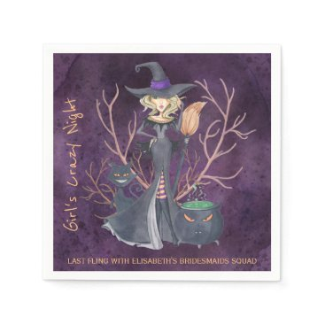 Halloween Themed Witch watercolor Halloween bachelorette party Napkin