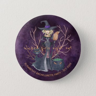 Halloween Themed Witch watercolor Halloween bachelorette party Pinback Button