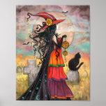 Witch Way Halloween Fantasy Gothic Art Poster