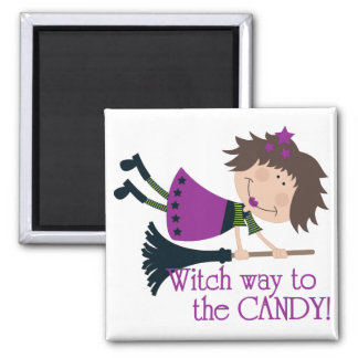 Witch way to the Candy 2 Inch Square Magnet