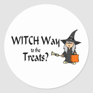 Witch Way To The Treats (Halloween) Classic Round Sticker
