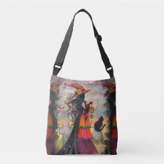 Witch Way Witch Cat Fantasy Art Halloween Wiccan Crossbody Bag at Zazzle