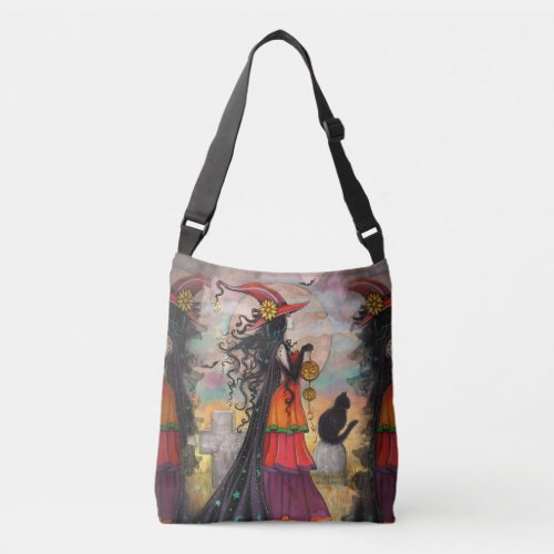 Witch Way Witch Cat Fantasy Art Halloween Wiccan Crossbody Bag