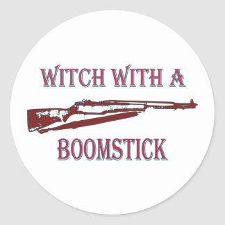 Witch with a boomstick 2 round stickers