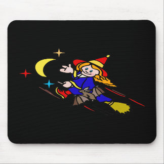 Witch with bat friend mousepad