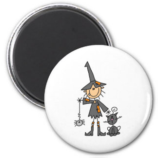 Witch with Black Cat 2 Inch Round Magnet