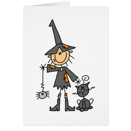 Witch with Black Cat Greeting Card
