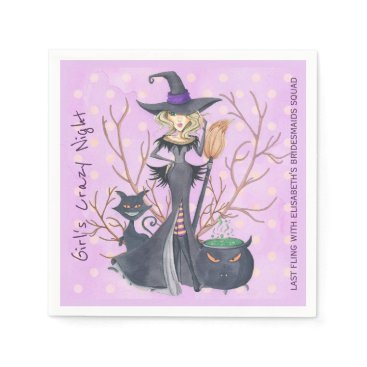 Halloween Themed Witch with broom Halloween bachelorette party Napkin