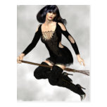 Witch with Broom  Postcard