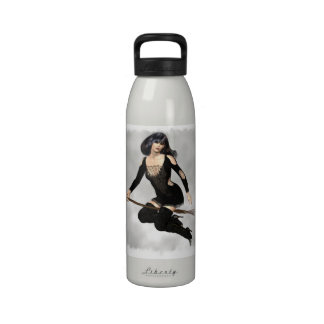 Witch with Broom Water Bottle