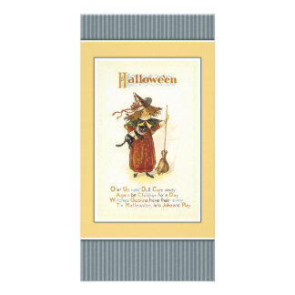 Witch with cat and broom card