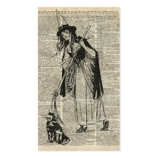 Witch With Cat Haloowen Party Gift Decoration Business Card