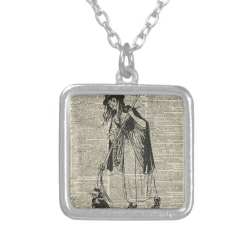 Witch With Cat Haloowen Party Gift Decoration Square Pendant Necklace