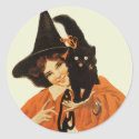 Witch with Cat sticker
