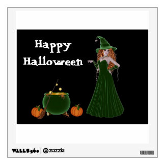 Witch with cauldron and pumpkin wall sticker