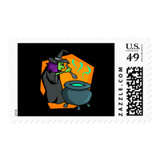 Witch with cauldron postage stamps