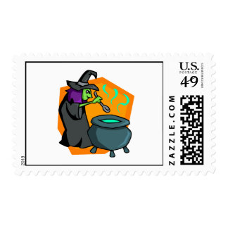 Witch with cauldron stamp