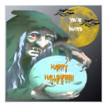 Witch with Crystal Ball Halloween Invitation
