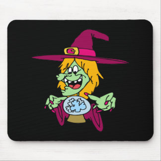 Witch with Crystal Ball Mouse Pads