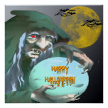 Witch with Crystal Ball Poster