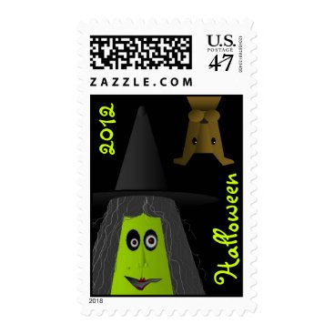 Halloween Themed Witch with custom year postage