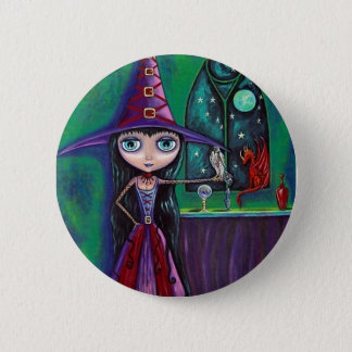 Witch With Falcon and Dragon Button