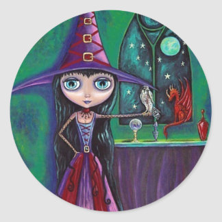 Witch With Falcon and Dragon Sticker