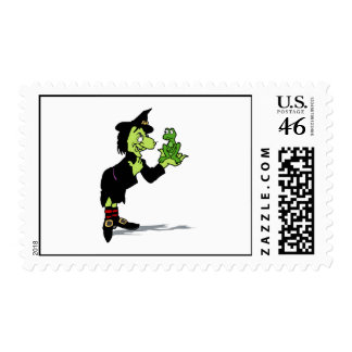 Witch with froggy postage stamps