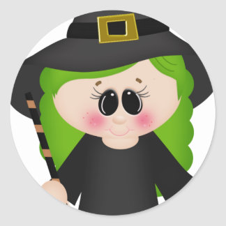 Witch with green hair classic round sticker