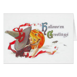 Witch with Jack-O-Lantern Halloween Card