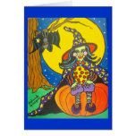 Witch With Moon Greeting Card