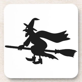 Witch with the broom flies drink coasters