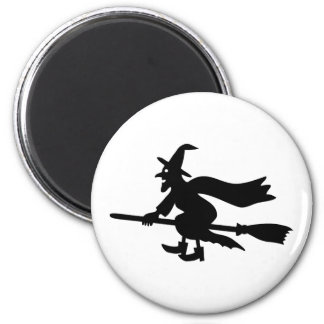 Witch with the broom flies magnet