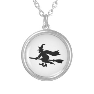 Witch with the broom flies round pendant necklace