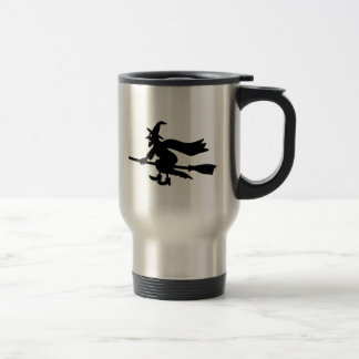 Witch with the broom flies travel mug