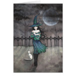 Witch with White Cats Greeting Card