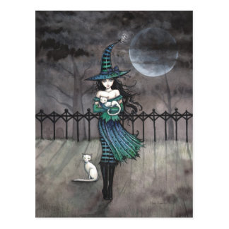 Witch with White Cats Postcard