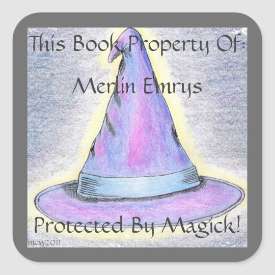 Witch Wizard Hat Bookplate Gray Border (Lg.)