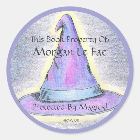 Witch Wizard Hat Bookplate Lavendar Border (Lg.)