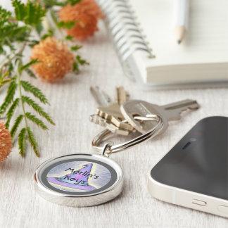 Witch Wizard Hat Gray Border Keychain