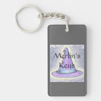Witch Wizard Hat Gray Border Photo Custo Keychain