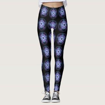 Halloween Themed Witchcraft Blue Fire Pentagram Leggings
