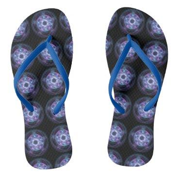 Halloween Themed Witchcraft Blue Fire Pentagram Pattern Flip Flops